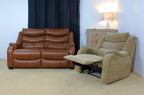 Denver Leather 2 Seater and Reclining Armchair